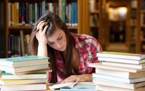 11181550 - focused student surrounded by books in a library
